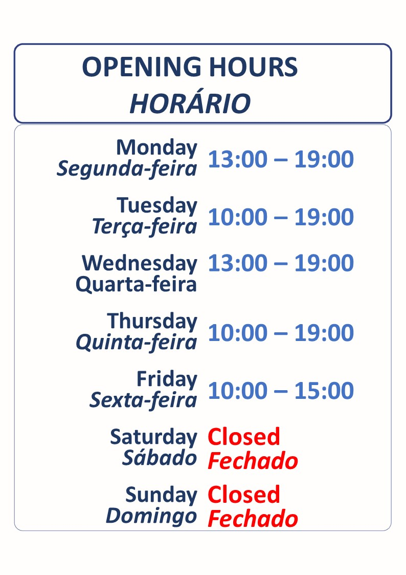 Opening Hours / Horario