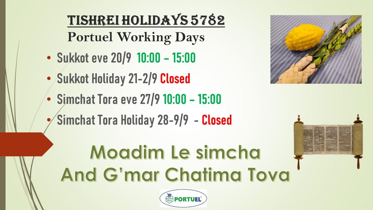 Tishrei Holidays 5782 – working Days